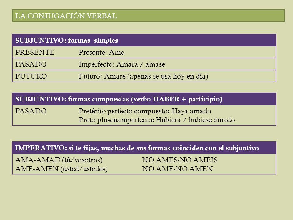 LA CONJUGACIÓN VERBAL SUBJUNTIVO: formas simples. PRESENTE. Presente: Ame. PASADO. Imperfecto: Amara / amase.