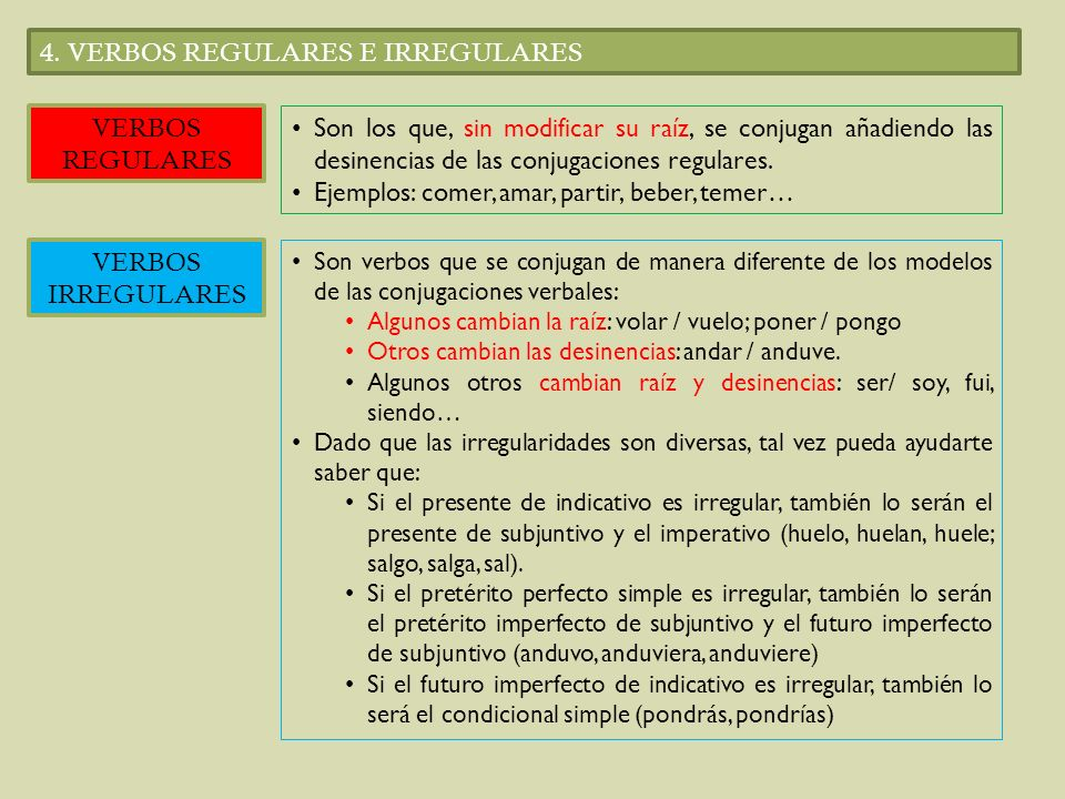 4. VERBOS REGULARES E IRREGULARES