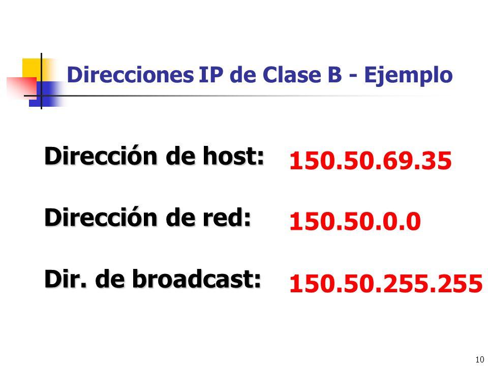 Direcciones IP de Clase B - Ejemplo