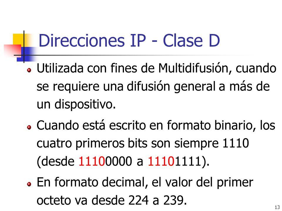 Direcciones IP - Clase D