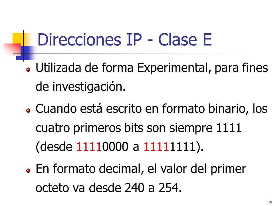 Direcciones IP - Clase E