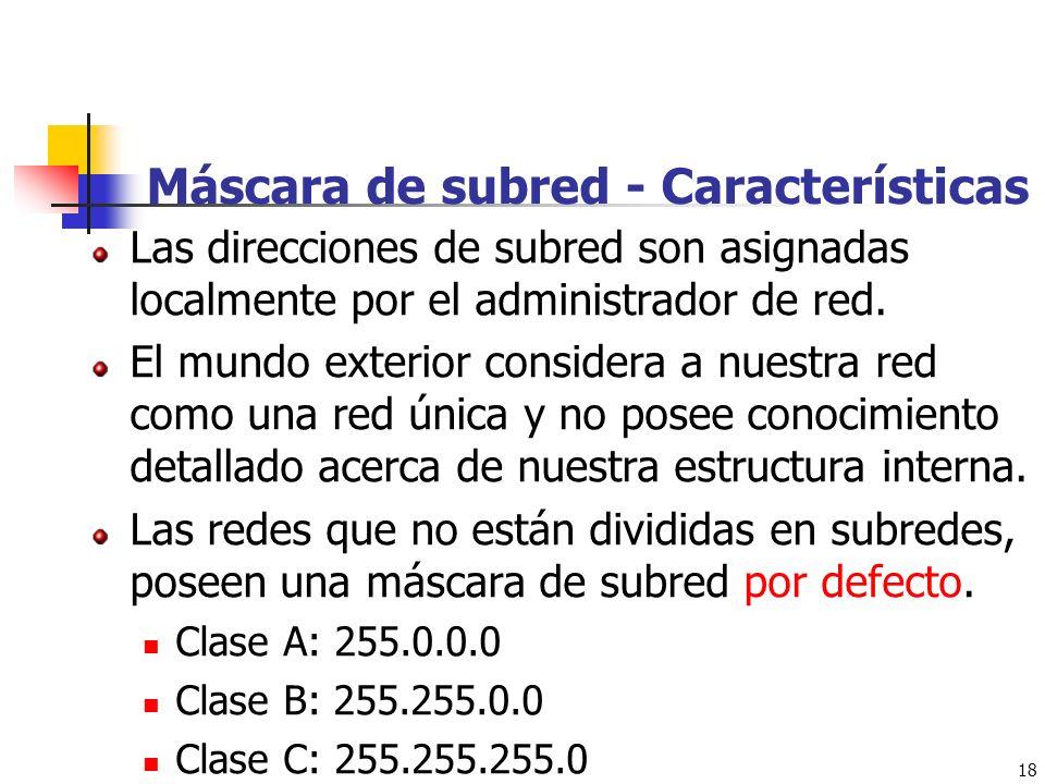 Máscara de subred - Características