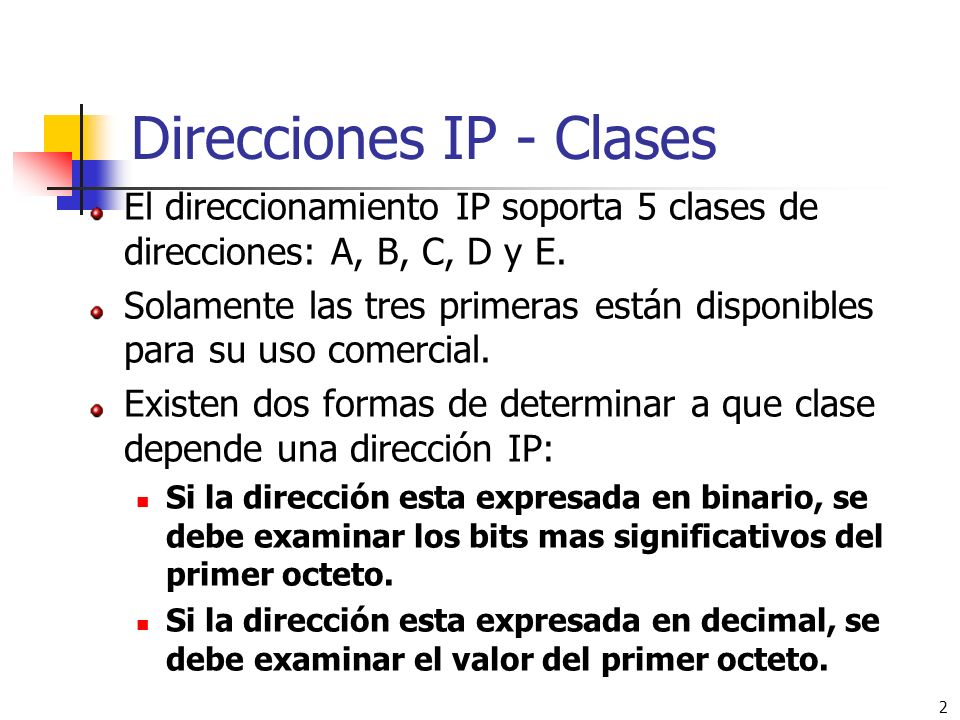 Direcciones IP - Clases