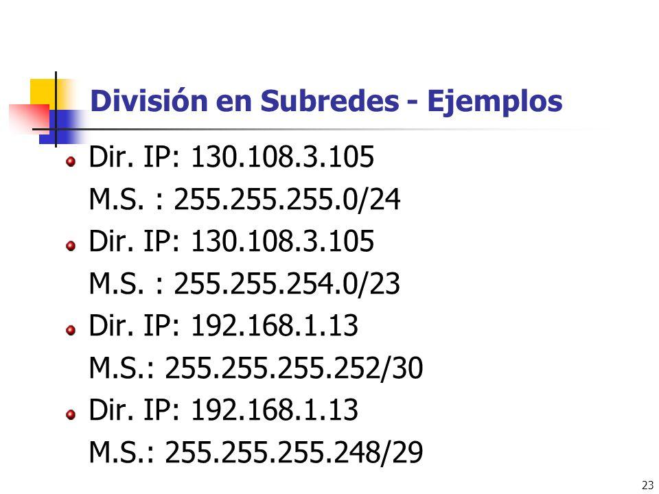 División en Subredes - Ejemplos