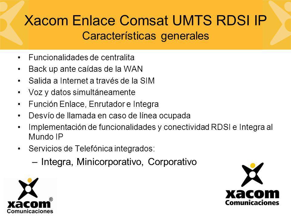 Xacom Enlace Comsat UMTS RDSI IP Características generales