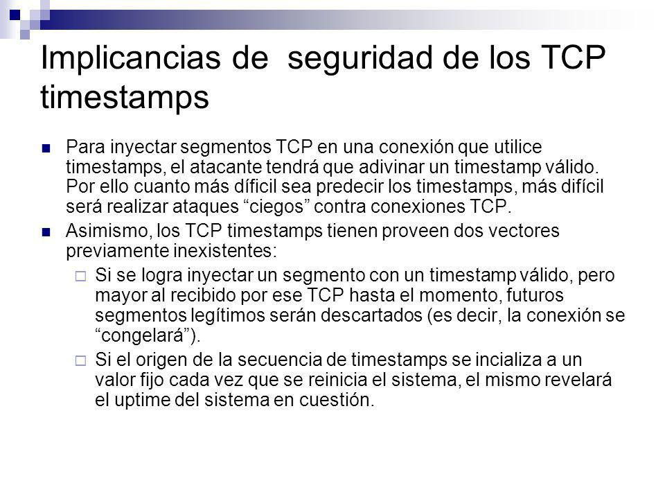 Implicancias de seguridad de los TCP timestamps