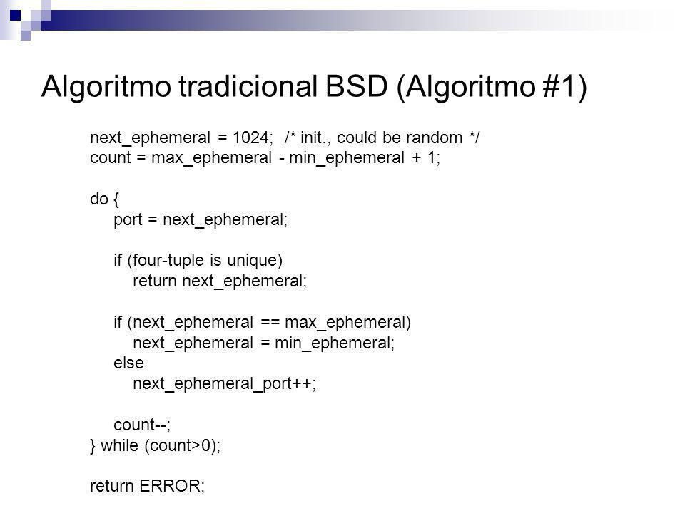 Algoritmo tradicional BSD (Algoritmo #1)
