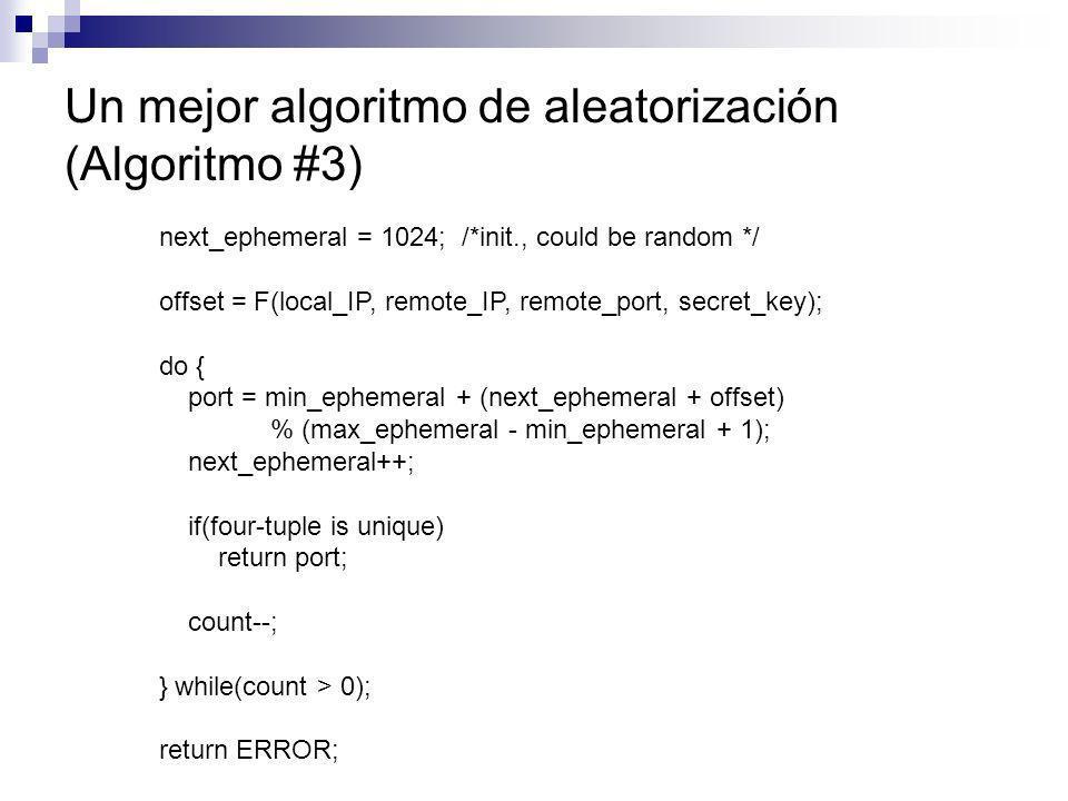 Un mejor algoritmo de aleatorización (Algoritmo #3)