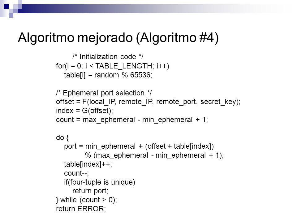Algoritmo mejorado (Algoritmo #4)