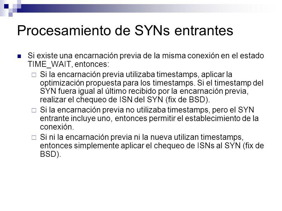 Procesamiento de SYNs entrantes