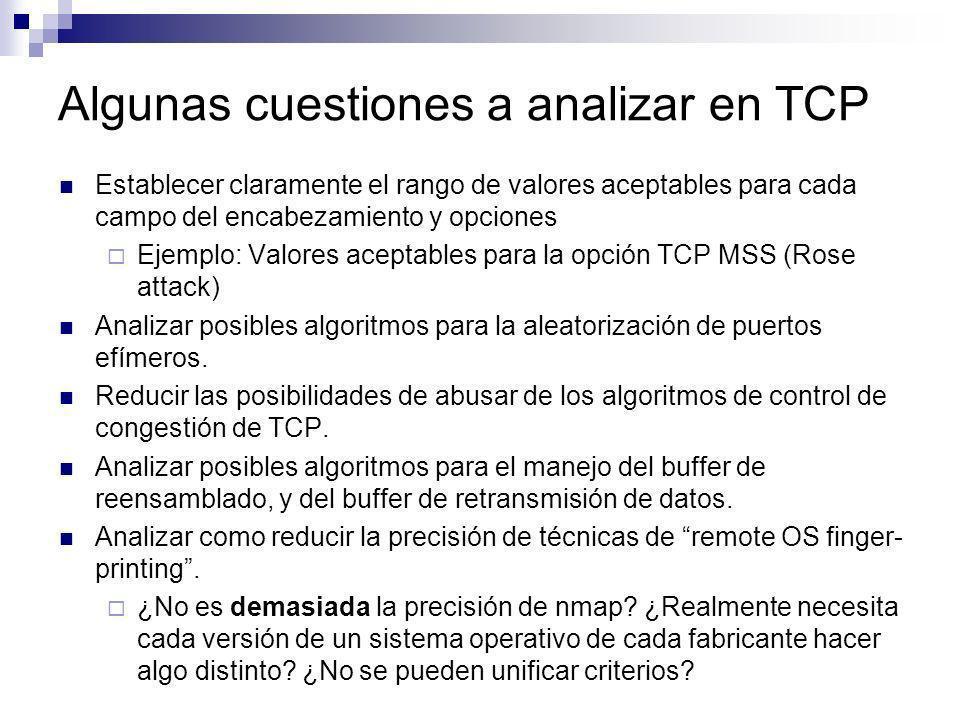 Algunas cuestiones a analizar en TCP