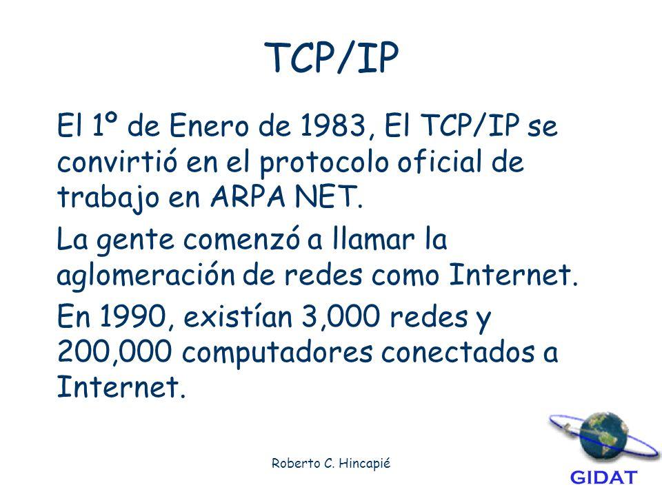 TCP/IP El 1º de Enero de 1983, El TCP/IP se convirtió en el protocolo oficial de trabajo en ARPA NET.