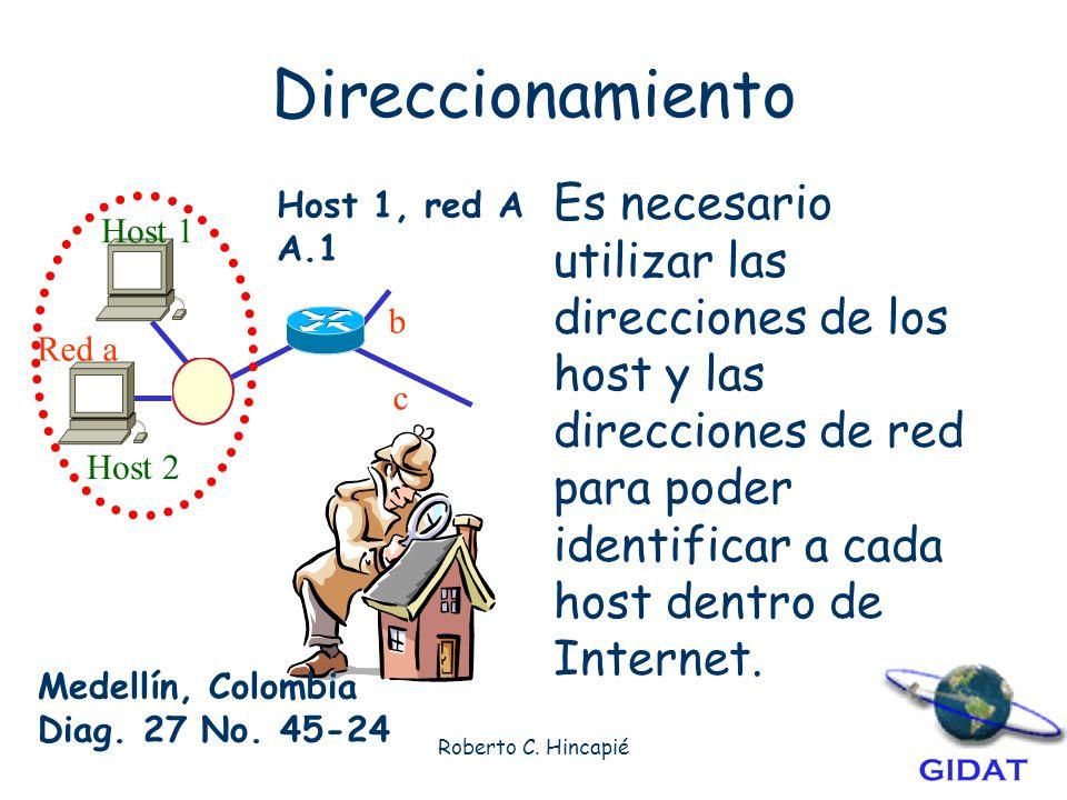 Direccionamiento Es necesario utilizar las direcciones de los host y las direcciones de red para poder identificar a cada host dentro de Internet.