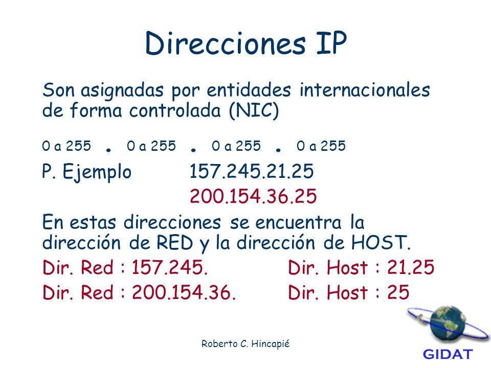 Direcciones IP Son asignadas por entidades internacionales de forma controlada (NIC) 0 a 255 . 0 a 255 . 0 a 255 . 0 a 255.