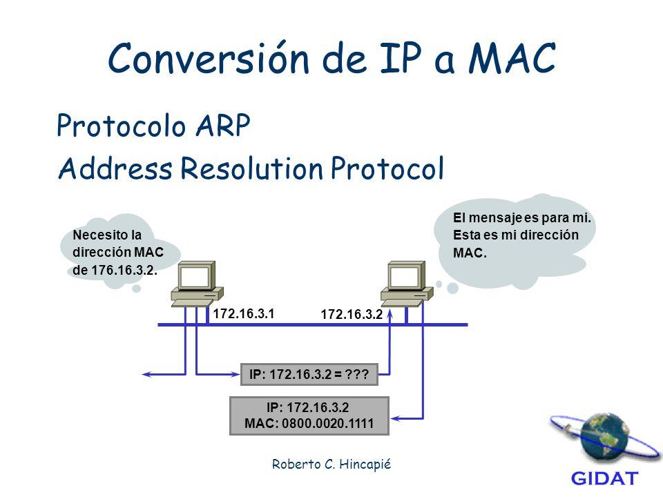 Conversión de IP a MAC Protocolo ARP Address Resolution Protocol