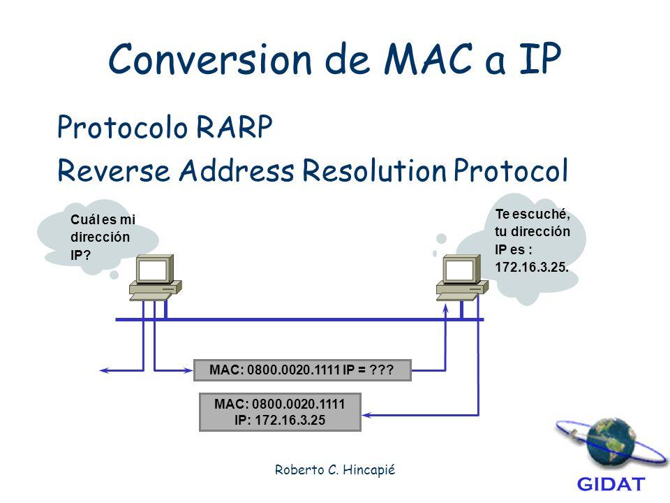Conversion de MAC a IP Protocolo RARP