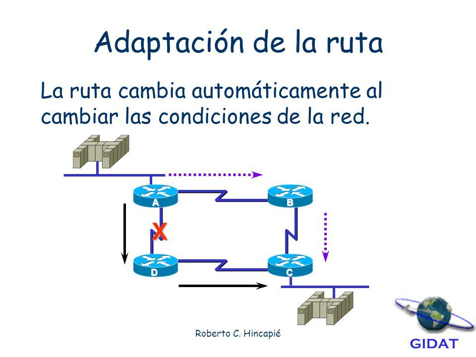 Adaptación de la ruta La ruta cambia automáticamente al cambiar las condiciones de la red. A. B. X.