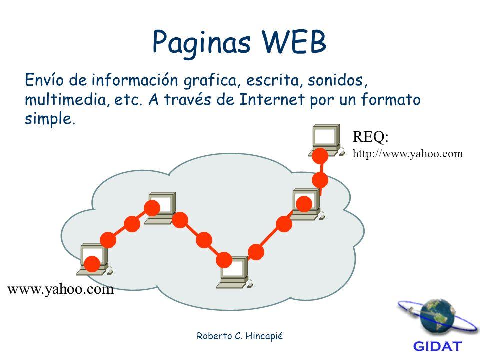 Paginas WEB Envío de información grafica, escrita, sonidos, multimedia, etc. A través de Internet por un formato simple.