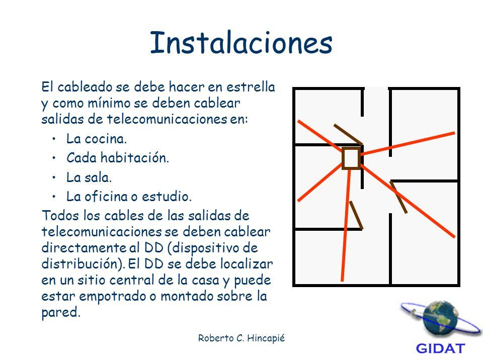 Instalaciones El cableado se debe hacer en estrella y como mínimo se deben cablear salidas de telecomunicaciones en: