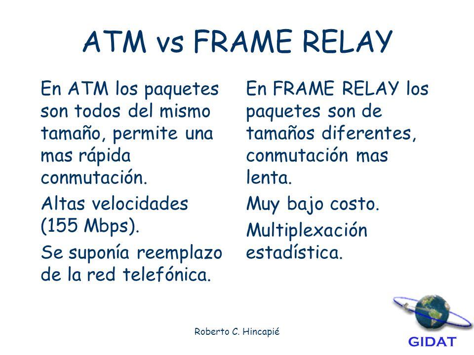 ATM vs FRAME RELAY En ATM los paquetes son todos del mismo tamaño, permite una mas rápida conmutación.