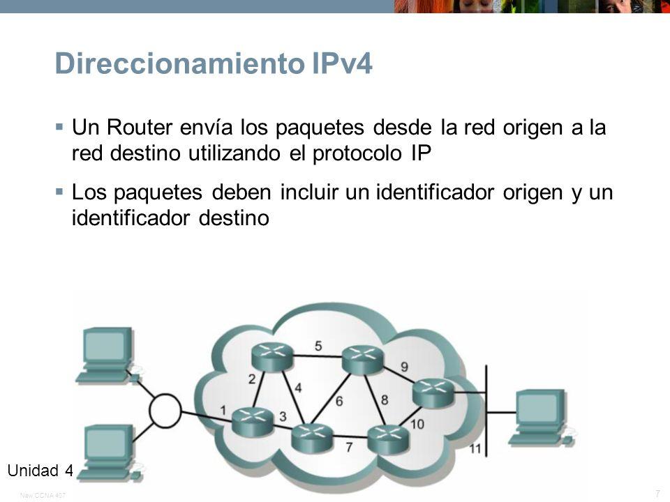 Direccionamiento IPv4 Un Router envía los paquetes desde la red origen a la red destino utilizando el protocolo IP.