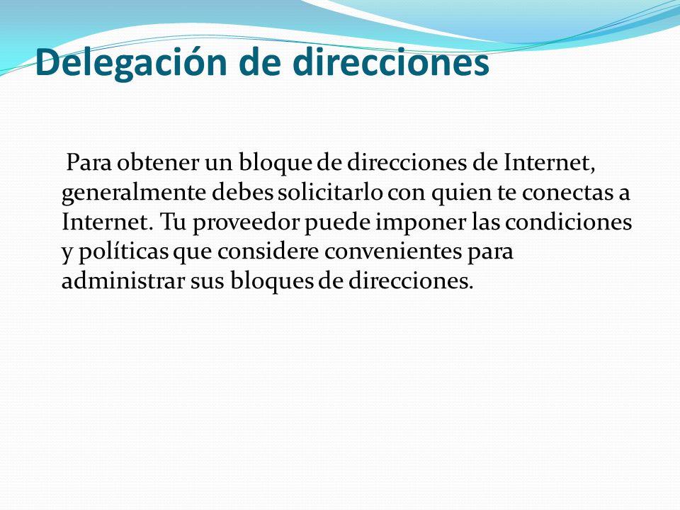 Delegación de direcciones