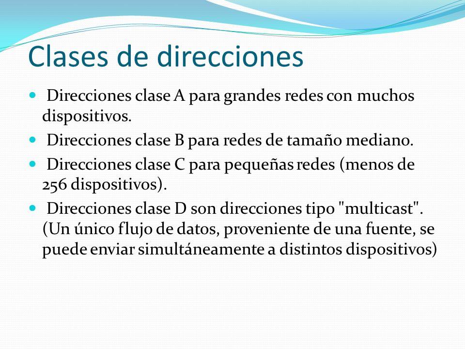 Clases de direcciones Direcciones clase A para grandes redes con muchos dispositivos. Direcciones clase B para redes de tamaño mediano.