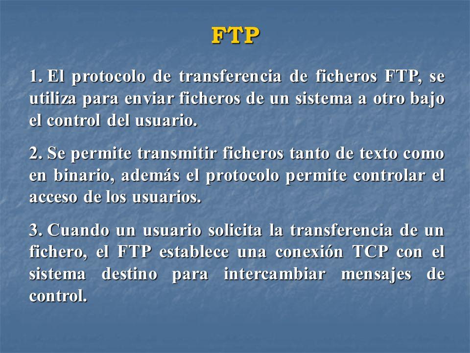 FTP El protocolo de transferencia de ficheros FTP, se utiliza para enviar ficheros de un sistema a otro bajo el control del usuario.