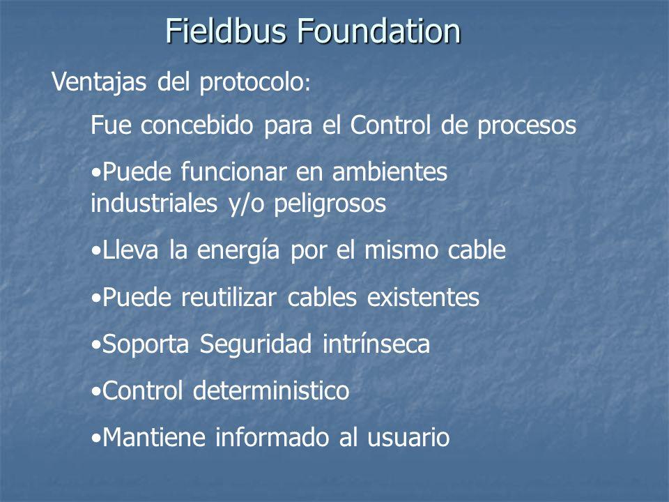 Fieldbus Foundation Ventajas del protocolo: