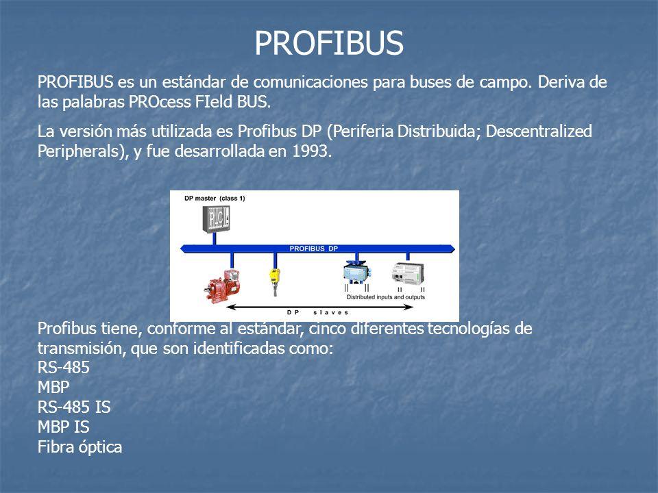 PROFIBUS PROFIBUS es un estándar de comunicaciones para buses de campo. Deriva de las palabras PROcess FIeld BUS.