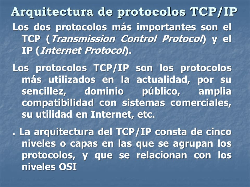 Arquitectura de protocolos TCP/IP