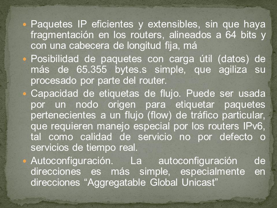 Paquetes IP eficientes y extensibles, sin que haya fragmentación en los routers, alineados a 64 bits y con una cabecera de longitud fija, má