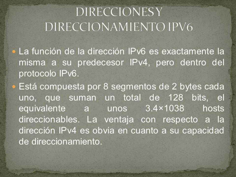 DIRECCIONES Y DIRECCIONAMIENTO IPV6