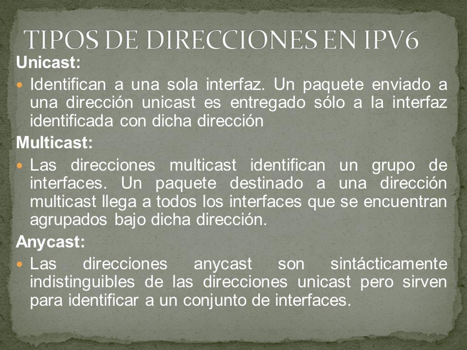 TIPOS DE DIRECCIONES EN IPV6