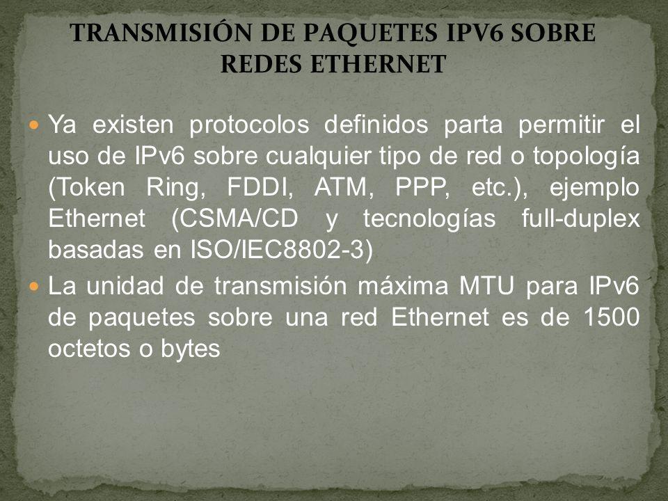 TRANSMISIÓN DE PAQUETES IPV6 SOBRE REDES ETHERNET