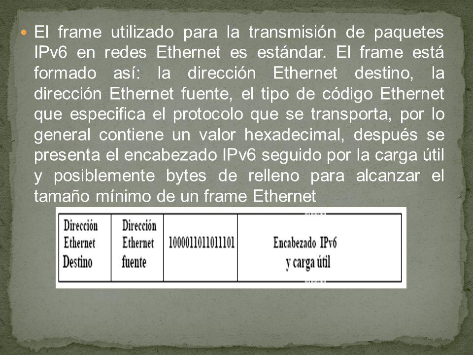 El frame utilizado para la transmisión de paquetes IPv6 en redes Ethernet es estándar.