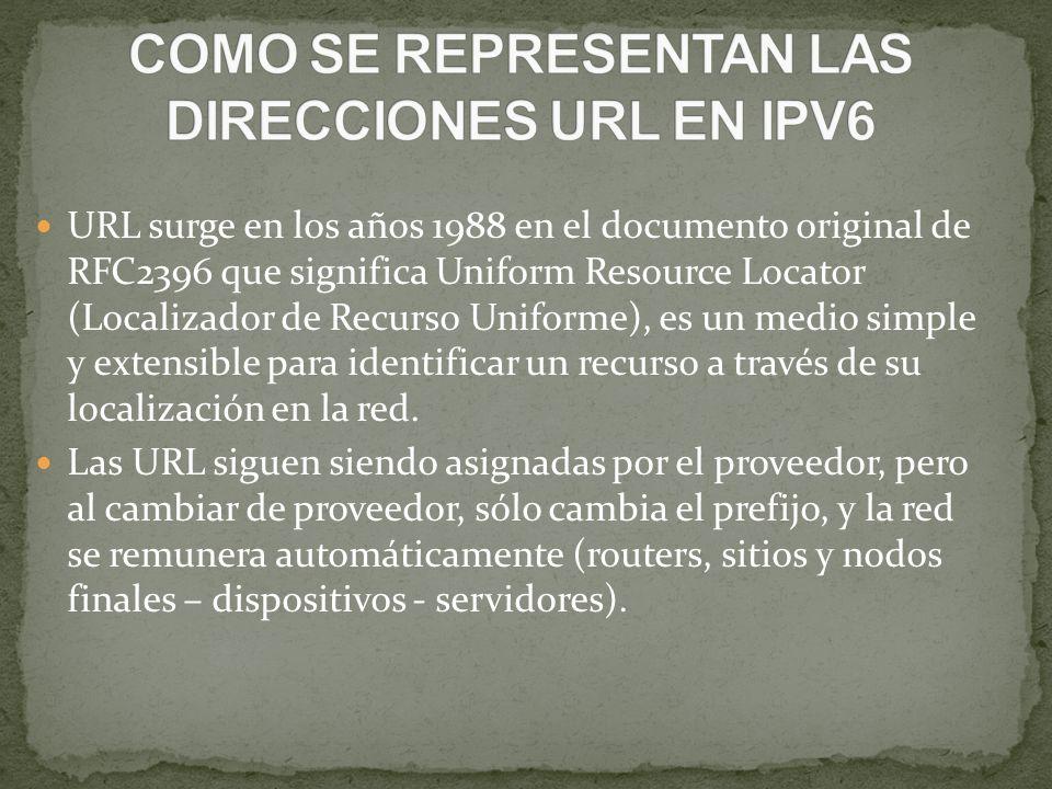COMO SE REPRESENTAN LAS DIRECCIONES URL EN IPV6