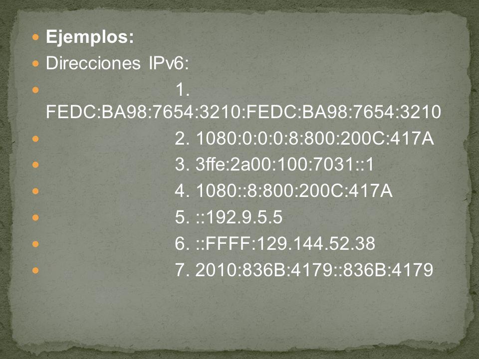 Ejemplos: Direcciones IPv6: 1. FEDC:BA98:7654:3210:FEDC:BA98:7654:3210. 2. 1080:0:0:0:8:800:200C:417A.