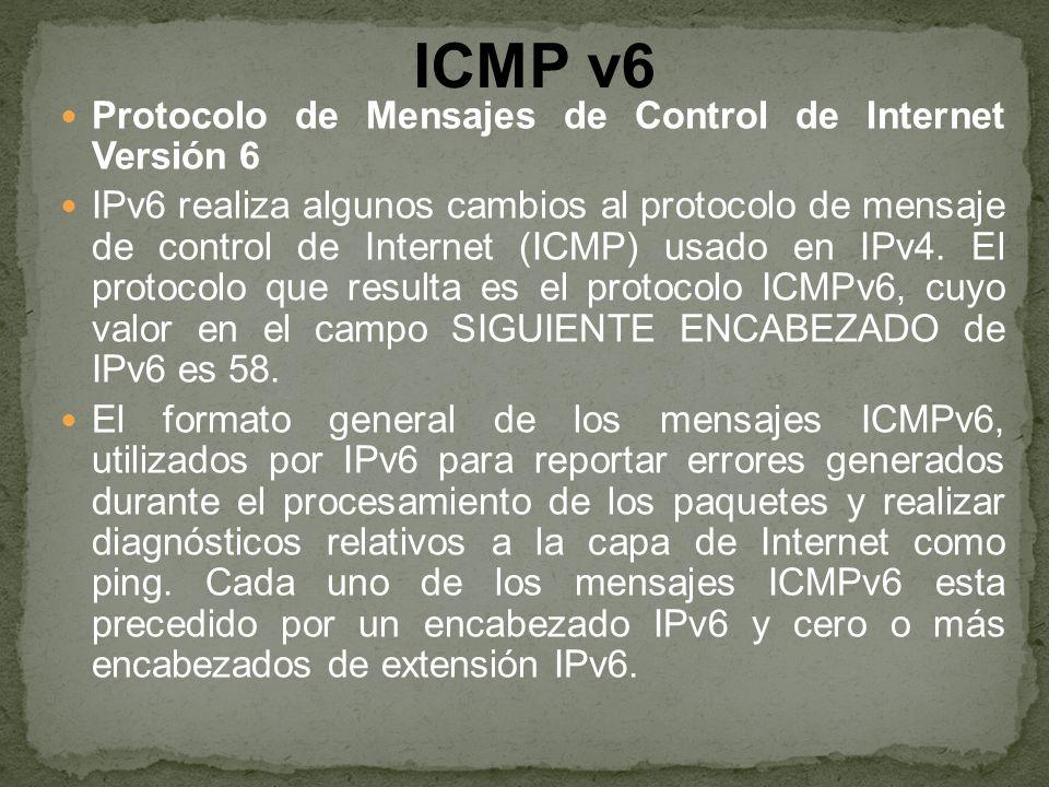 ICMP v6 Protocolo de Mensajes de Control de Internet Versión 6