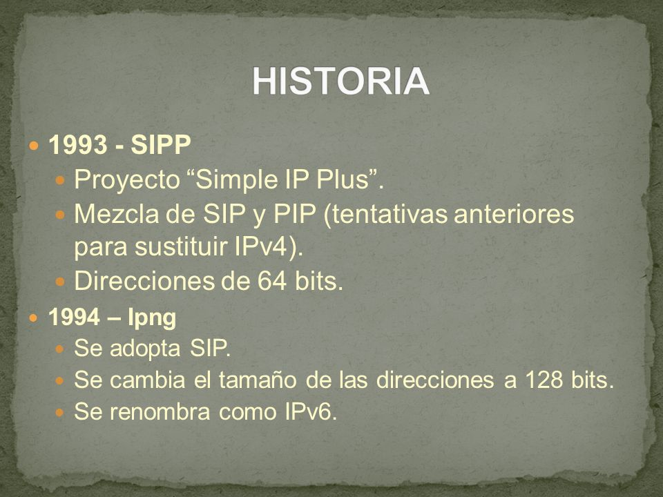 HISTORIA 1993 - SIPP Proyecto Simple IP Plus .