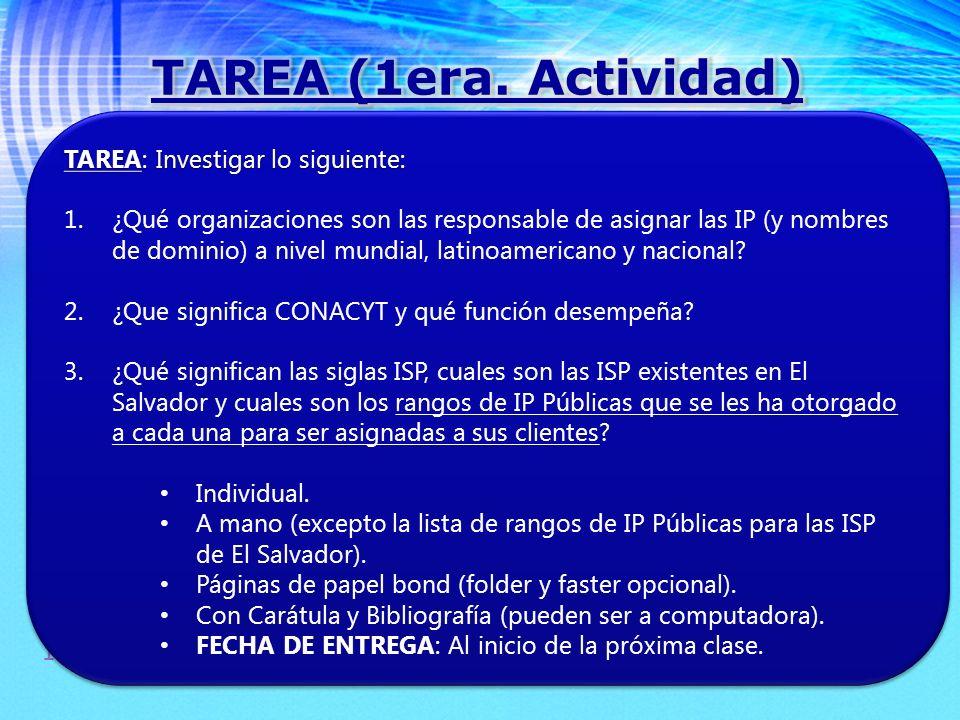 TAREA (1era. Actividad) TAREA: Investigar lo siguiente:
