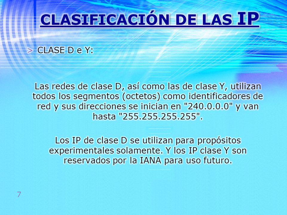 CLASIFICACIÓN DE LAS IP