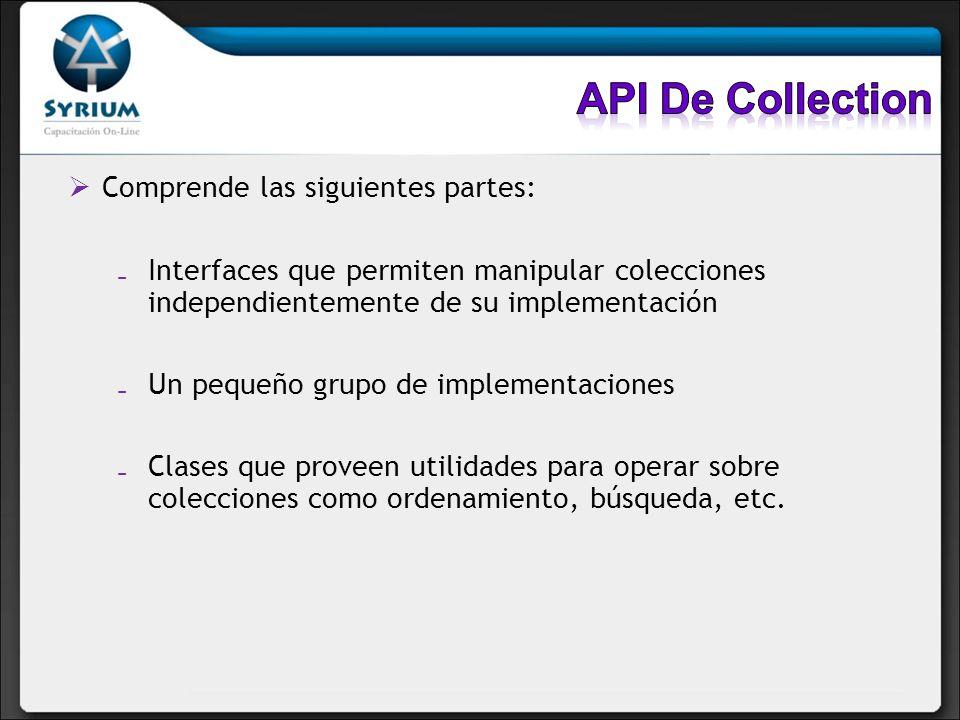 API De Collection Comprende las siguientes partes: