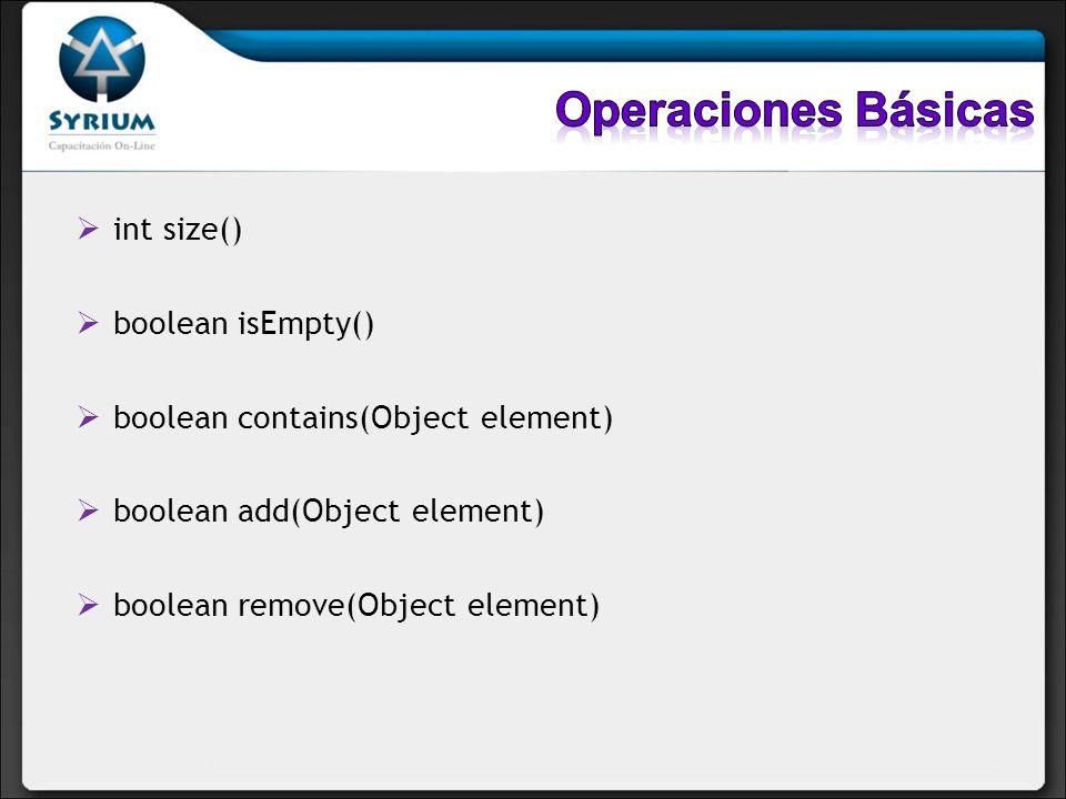 Operaciones Básicas int size() boolean isEmpty()
