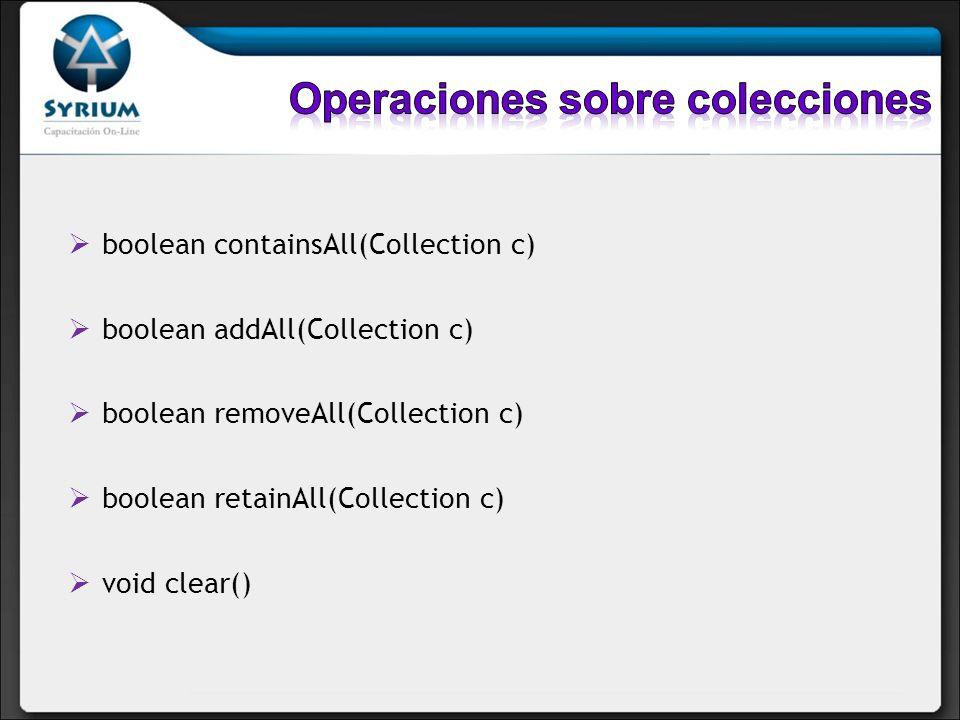 Operaciones sobre colecciones