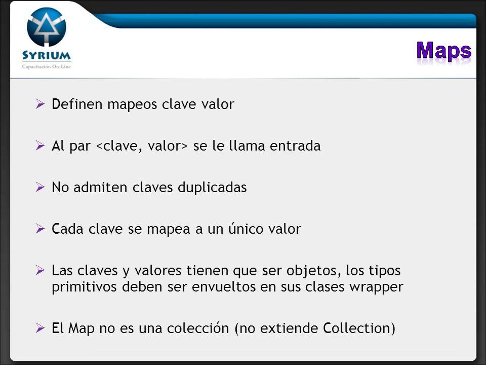Maps Definen mapeos clave valor