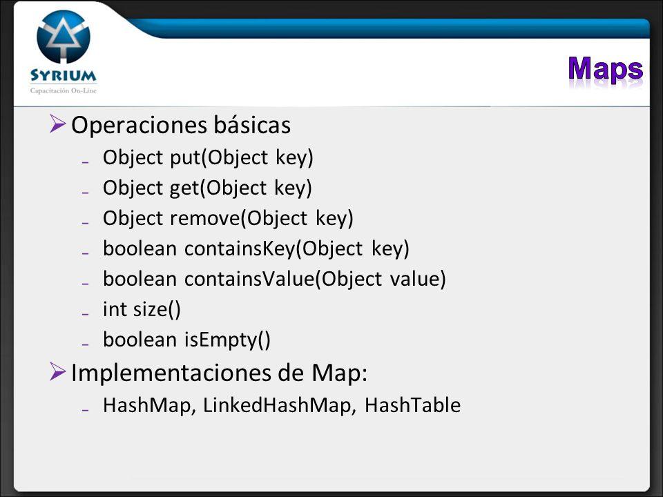 Maps Operaciones básicas Implementaciones de Map: