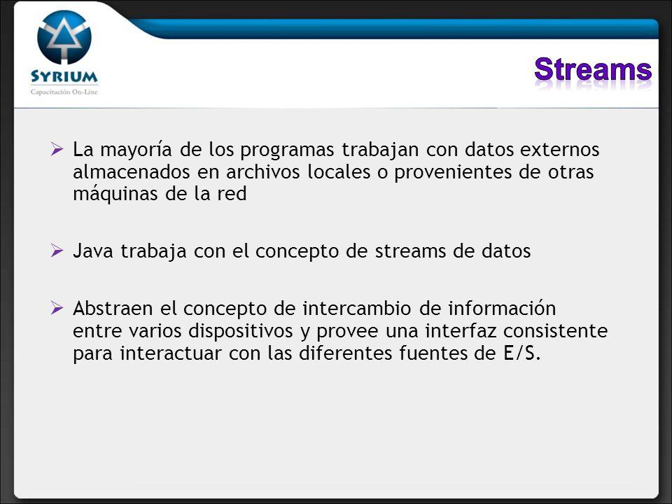 Streams La mayoría de los programas trabajan con datos externos almacenados en archivos locales o provenientes de otras máquinas de la red.