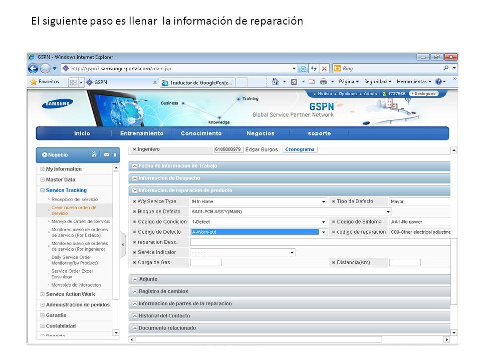 El siguiente paso es llenar la información de reparación