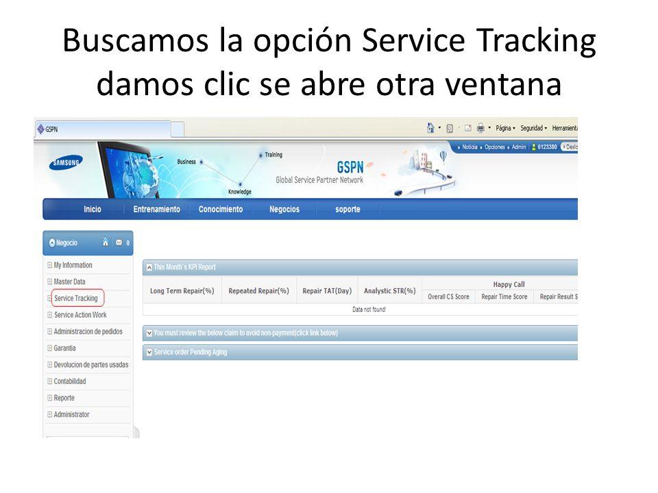 Buscamos la opción Service Tracking damos clic se abre otra ventana